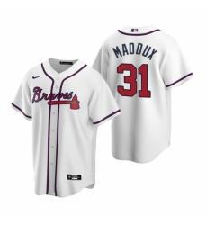 Mens Nike Atlanta Braves 31 Greg Maddux White Home Stitched Baseball Jerse