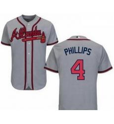 Men's Nike Atlanta Braves #4 Brandon Phillips Gray Road Cool Base Jersey