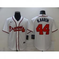 Men's Nike Atlanta Braves #44 Hank Aaron White Jersey