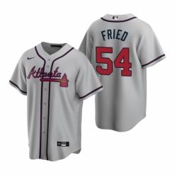 Mens Nike Atlanta Braves 54 Max Fried Gray Road Stitched Baseball Jersey