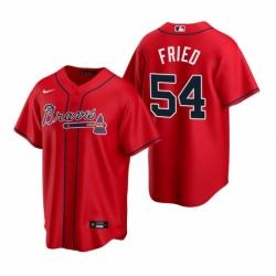 Mens Nike Atlanta Braves 54 Max Fried Red Alternate Stitched Baseball Jersey