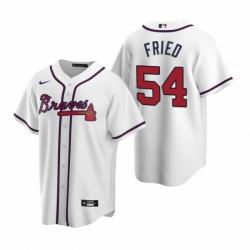 Mens Nike Atlanta Braves 54 Max Fried White Home Stitched Baseball Jersey