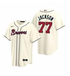 Mens Nike Atlanta Braves 77 Luke Jackson Cream Alternate Stitched Baseball Jersey