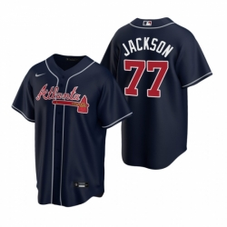 Mens Nike Atlanta Braves 77 Luke Jackson Navy Alternate Stitched Baseball Jersey