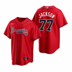 Mens Nike Atlanta Braves 77 Luke Jackson Red Alternate Stitched Baseball Jersey
