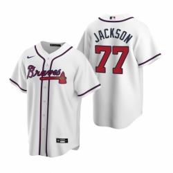Mens Nike Atlanta Braves 77 Luke Jackson White Home Stitched Baseball Jersey