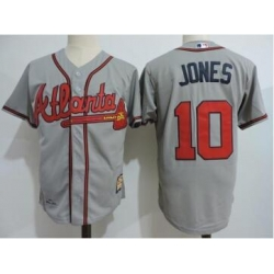 Men's Throwback Atlanta Braves 10 Chipper Jones Grey Jersey
