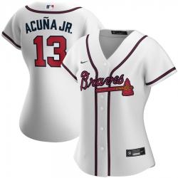 Atlanta Braves 13 Ronald Acuna Jr  Nike Women Home 2020 MLB Player Jersey White