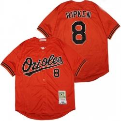 Baltimore Orioles 8 Cal Ripken Jr Orange 1989 Cooperstown Collection Jersey