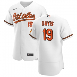 Men Baltimore Orioles 19 Chris Davis Men Nike White Home 2020 Flex Base Player MLB Jersey