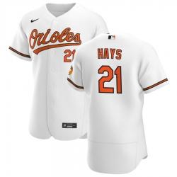 Men Baltimore Orioles 21 Austin Hays Men Nike White Home 2020 Flex Base Player MLB Jersey