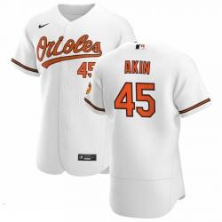 Men Baltimore Orioles 45 Keegan Akin Men Nike White Home 2020 Flex Base Player MLB Jersey