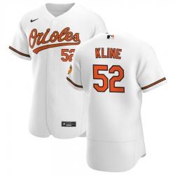 Men Baltimore Orioles 52 Branden Kline Men Nike White Home 2020 Flex Base Player MLB Jersey