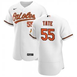 Men Baltimore Orioles 55 Dillon Tate Men Nike White Home 2020 Flex Base Player MLB Jersey