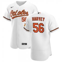 Men Baltimore Orioles 56 Hunter Harvey Men Nike White Home 2020 Flex Base Player MLB Jersey