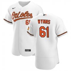Men Baltimore Orioles 61 Austin Wynns Men Nike White Home 2020 Flex Base Player MLB Jersey