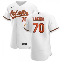 Men Baltimore Orioles 70 Travis Lakins Sr  Men Nike White Home 2020 Flex Base Player MLB Jersey