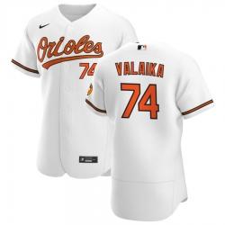 Men Baltimore Orioles 74 Pat Valaika Men Nike White Home 2020 Flex Base Player MLB Jersey