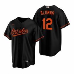 Mens Nike Baltimore Orioles 12 Roberto Alomar Black Alternate Stitched Baseball Jersey