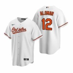 Mens Nike Baltimore Orioles 12 Roberto Alomar White Home Stitched Baseball Jersey