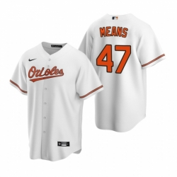 Mens Nike Baltimore Orioles 47 John Means White Home Stitched Baseball Jersey