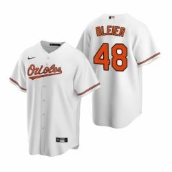 Mens Nike Baltimore Orioles 48 Richard Bleier White Home Stitched Baseball Jersey