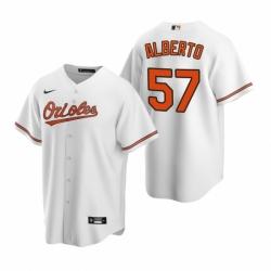 Mens Nike Baltimore Orioles 57 Hanser Alberto White Home Stitched Baseball Jersey