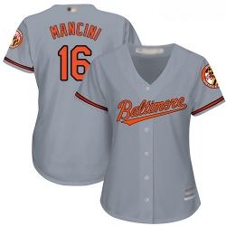Orioles #16 Trey Mancini Grey Road Women Stitched Baseball Jersey