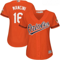 Orioles #16 Trey Mancini Orange Women Alternate Stitched Baseball Jersey