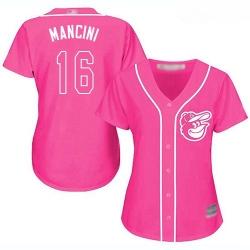 Orioles #16 Trey Mancini Pink Fashion Women Stitched Baseball Jersey