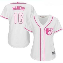 Orioles #16 Trey Mancini White Pink Fashion Women Stitched Baseball Jersey