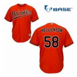 Youth Majestic Baltimore Orioles 58 Jeremy Hellickson Replica Orange Alternate Cool Base MLB Jersey