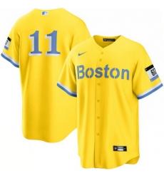 Men Boston Red Sox 11 Rafael Devers Nike Gold Light Blue 2021 City Connect Player Jersey