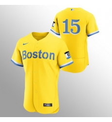Men Boston Red Sox 15 Dustin Pedroia Men Nike 2021 City Connect Gold Authentic MLB Jersey   No Name