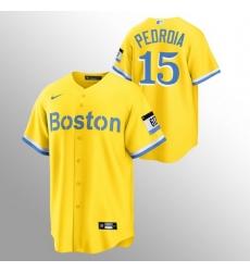 Men Boston Red Sox 15 Dustin Pedroia Men Nike 2021 City Connect Gold Fans Version MLB Jersey