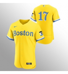Men Boston Red Sox 17 Nathan Eovaldi Men Nike 2021 City Connect Gold Authentic MLB Jersey   No Name