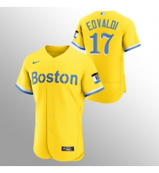 Men Boston Red Sox 17 Nathan Eovaldi Men Nike 2021 City Connect Gold Authentic MLB Jersey