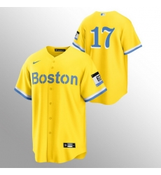 Men Boston Red Sox 17 Nathan Eovaldi Men Nike 2021 City Connect Gold Fans Version MLB Jersey   No Name