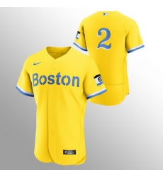 Men Boston Red Sox 2 Xander Bogaerts Men Nike 2021 City Connect Gold Authentic MLB Jersey   No Name