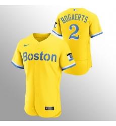 Men Boston Red Sox 2 Xander Bogaerts Men Nike 2021 City Connect Gold Authentic MLB Jersey