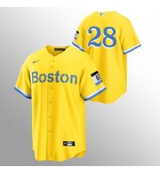Men Boston Red Sox 28 J D  Martinez Men Nike 2021 City Connect Gold Fans Version MLB Jersey   No Name