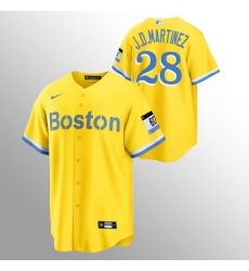 Men Boston Red Sox 28 J D  Martinez Men Nike 2021 City Connect Gold Fans Version MLB Jersey