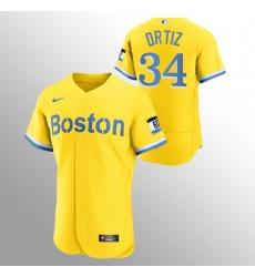 Men Boston Red Sox 34 David Ortiz Men Nike 2021 City Connect Gold Authentic MLB Jersey