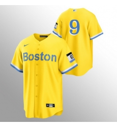 Men Boston Red Sox 9 Ted Williams Men Nike 2021 City Connect Gold Fans Version MLB Jersey   No Name