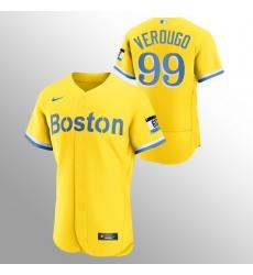 Men Boston Red Sox 99 Alex Verdugo Men Nike 2021 City Connect Gold Authentic MLB Jersey   No Name