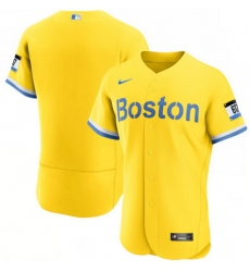 Men Boston Red Sox Nike Gold Light Blue 2021 City Connect Authentic Jersey