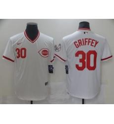 Men Nike Cincinati Reds Ken Griffey Jr 30 White Cool Base Stitched Pullover MLB Jersey