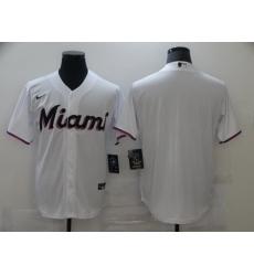 Men Nike Florida Marlins white Blank Cool base Jersey