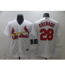 Men Nike St.Louis Cardinals Nolan Arenado 28 White Nike Cool Base Jersey