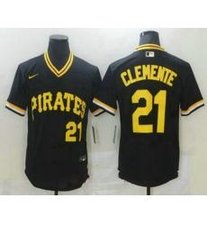 Men Pittsburgh Pirates 21 Roberto Clemente Black Mesh Batting Practice Throwback Nike Jersey